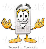 Illustration of a Cartoon Calculator Mascot with Welcoming Open Arms by Toons4Biz