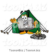 Illustration of a Cartoon Camera Mascot Camping with a Tent and Fire by Toons4Biz