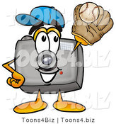 Illustration of a Cartoon Camera Mascot Catching a Baseball with a Glove by Toons4Biz