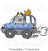 Illustration of a Cartoon Camera Mascot Driving a Blue Car and Waving by Toons4Biz
