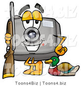 Illustration of a Cartoon Camera Mascot Duck Hunting, Standing with a Rifle and Duck by Toons4Biz