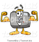 Illustration of a Cartoon Camera Mascot Flexing His Arm Muscles by Toons4Biz