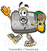 Illustration of a Cartoon Camera Mascot Hiking and Carrying a Backpack by Toons4Biz