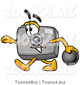 Illustration of a Cartoon Camera Mascot Holding a Bowling Ball by Toons4Biz