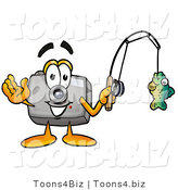 Illustration of a Cartoon Camera Mascot Holding a Fish on a Fishing Pole by Toons4Biz