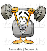 Illustration of a Cartoon Camera Mascot Holding a Heavy Barbell Above His Head by Toons4Biz