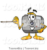 Illustration of a Cartoon Camera Mascot Holding a Pointer Stick by Toons4Biz