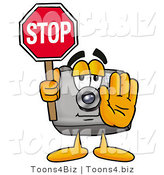 Illustration of a Cartoon Camera Mascot Holding a Stop Sign by Toons4Biz
