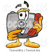 Illustration of a Cartoon Camera Mascot Holding a Telephone by Toons4Biz
