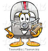 Illustration of a Cartoon Camera Mascot in a Helmet, Holding a Football by Toons4Biz