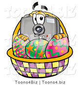 Illustration of a Cartoon Camera Mascot in an Easter Basket Full of Decorated Easter Eggs by Toons4Biz