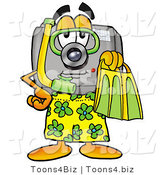 Illustration of a Cartoon Camera Mascot in Green and Yellow Snorkel Gear by Toons4Biz