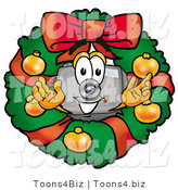 Illustration of a Cartoon Camera Mascot in the Center of a Christmas Wreath by Toons4Biz