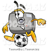 Illustration of a Cartoon Camera Mascot Kicking a Soccer Ball by Toons4Biz