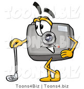 Illustration of a Cartoon Camera Mascot Leaning on a Golf Club While Golfing by Toons4Biz