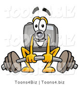 Illustration of a Cartoon Camera Mascot Lifting a Heavy Barbell by Toons4Biz