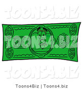 Illustration of a Cartoon Camera Mascot on a Dollar Bill by Toons4Biz