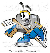 Illustration of a Cartoon Camera Mascot Playing Ice Hockey by Toons4Biz