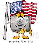 Illustration of a Cartoon Camera Mascot Pledging Allegiance to an American Flag by Toons4Biz