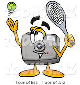 Illustration of a Cartoon Camera Mascot Preparing to Hit a Tennis Ball by Toons4Biz