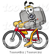 Illustration of a Cartoon Camera Mascot Riding a Bicycle by Toons4Biz