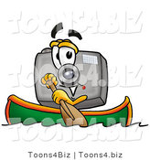 Illustration of a Cartoon Camera Mascot Rowing a Boat by Toons4Biz