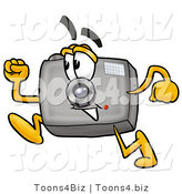 Illustration of a Cartoon Camera Mascot Running by Toons4Biz