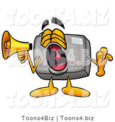 Illustration of a Cartoon Camera Mascot Screaming into a Megaphone by Toons4Biz