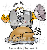 Illustration of a Cartoon Camera Mascot Serving a Thanksgiving Turkey on a Platter by Toons4Biz