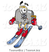 Illustration of a Cartoon Camera Mascot Skiing Downhill by Toons4Biz