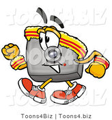 Illustration of a Cartoon Camera Mascot Speed Walking or Jogging by Toons4Biz