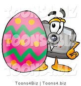 Illustration of a Cartoon Camera Mascot Standing Beside an Easter Egg by Toons4Biz