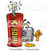 Illustration of a Cartoon Camera Mascot Standing with a Lit Stick of Dynamite by Toons4Biz