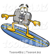 Illustration of a Cartoon Camera Mascot Surfing on a Blue and Yellow Surfboard by Toons4Biz
