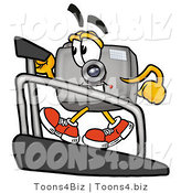 Illustration of a Cartoon Camera Mascot Walking on a Treadmill in a Fitness Gym by Toons4Biz