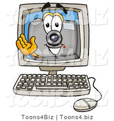 Illustration of a Cartoon Camera Mascot Waving from Inside a Computer Screen by Toons4Biz