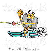Illustration of a Cartoon Camera Mascot Waving While Water Skiing by Toons4Biz
