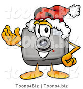 Illustration of a Cartoon Camera Mascot Wearing a Santa Hat and Waving by Toons4Biz