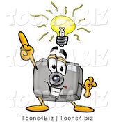 Illustration of a Cartoon Camera Mascot with a Bright Idea by Toons4Biz