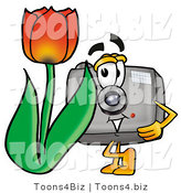 Illustration of a Cartoon Camera Mascot with a Red Tulip Flower in the Spring by Toons4Biz