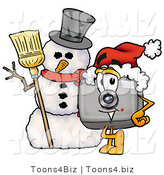 Illustration of a Cartoon Camera Mascot with a Snowman on Christmas by Toons4Biz