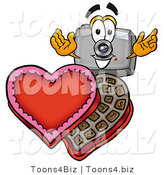 Illustration of a Cartoon Camera Mascot with an Open Box of Valentines Day Chocolate Candies by Toons4Biz