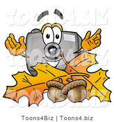 Illustration of a Cartoon Camera Mascot with Autumn Leaves and Acorns in the Fall by Toons4Biz