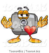 Illustration of a Cartoon Camera Mascot with His Heart Beating out of His Chest by Toons4Biz