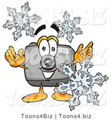 Illustration of a Cartoon Camera Mascot with Three Snowflakes in Winter by Toons4Biz