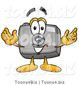 Illustration of a Cartoon Camera Mascot with Welcoming Open Arms by Toons4Biz