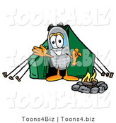 Illustration of a Cartoon Cellphone Mascot Camping with a Tent and Fire by Toons4Biz