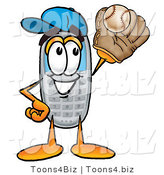 Illustration of a Cartoon Cellphone Mascot Catching a Baseball with a Glove by Toons4Biz