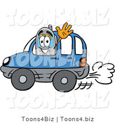 Illustration of a Cartoon Cellphone Mascot Driving a Blue Car and Waving by Toons4Biz