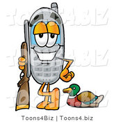 Illustration of a Cartoon Cellphone Mascot Duck Hunting, Standing with a Rifle and Duck by Toons4Biz